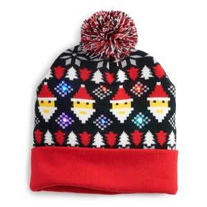 Accessories - Women's pixelated Santa light up beanie hat nwt
